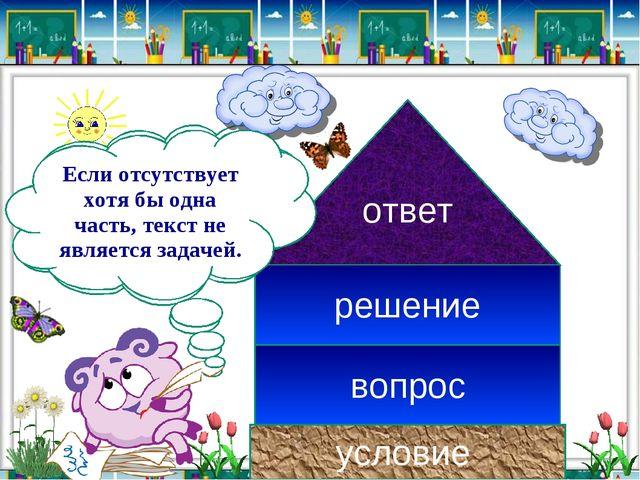 условие вопрос ответ решение В задаче всегда должны быть составные части: Есл...