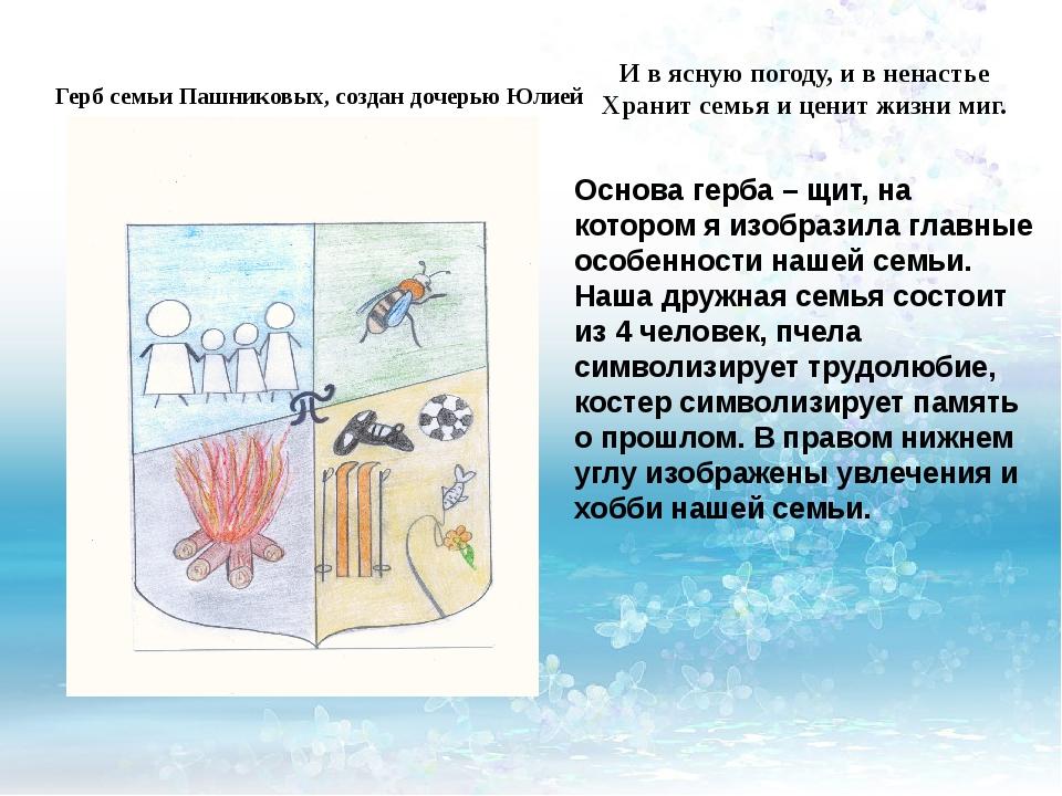 Герб семьи Пашниковых, создан дочерью Юлией И в ясную погоду, и в ненастье Хр...