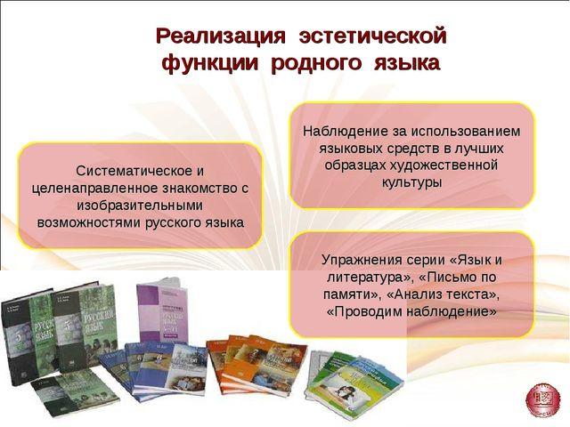 Реализация эстетической функции родного языка Систематическое и целенаправлен...