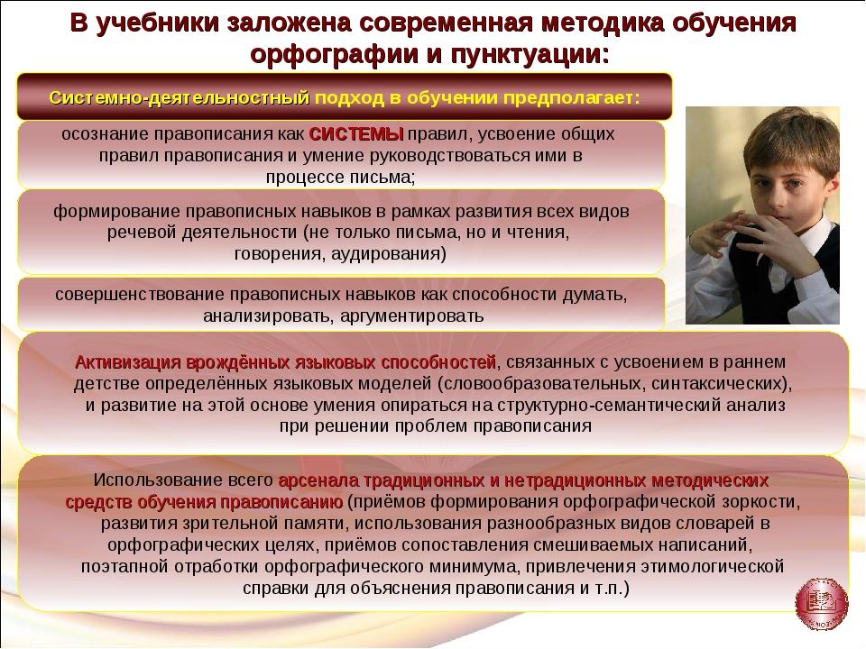 В учебники заложена современная методика обучения орфографии и пунктуации: о...