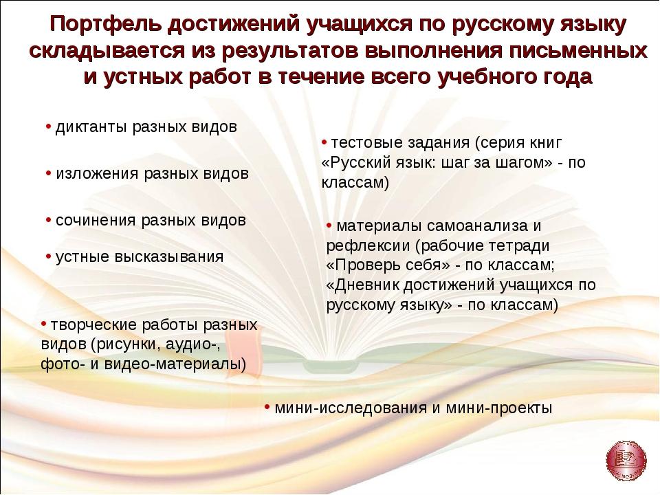Портфель достижений учащихся по русскому языку складывается из результатов вы...