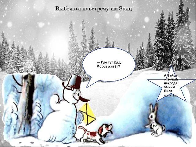 Выбежал навстречу им Заяц. — Где тут Дед Мороз живёт? А Зайцу отвечать неког...
