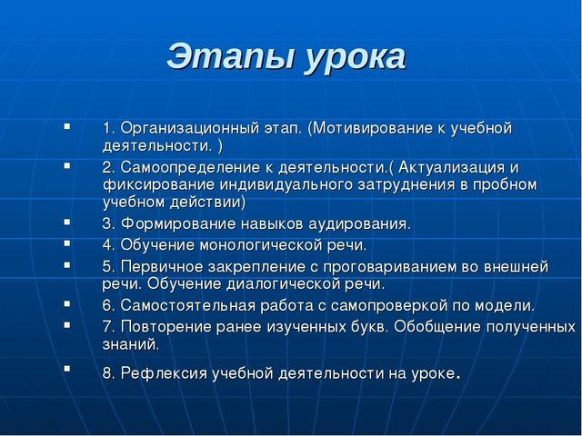Этапы урока 1. Организационный этап. (Мотивирование к учебной деятельности. )...