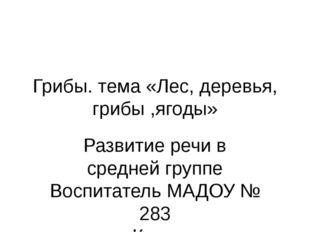 Грибы. тема «Лес, деревья, грибы ,ягоды» Развитие речи в средней группе Воспи
