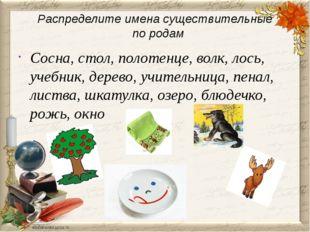 Распределите имена существительные по родам Сосна, стол, полотенце, волк, лос