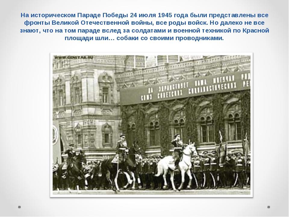 На историческом Параде Победы 24 июля 1945 года были представлены все фронты...