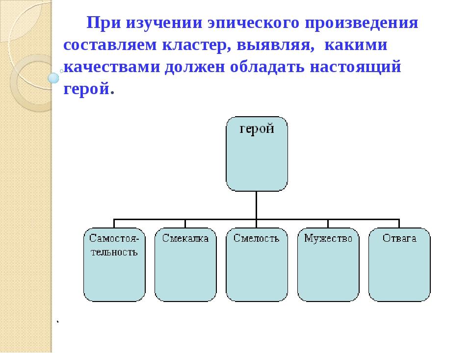 . При изучении эпического произведения составляем кластер, выявляя, какими ка...