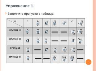 Упражнение 1. Заполните пропуски в таблице: a 1 -1 arcsina arccosa arctga arc