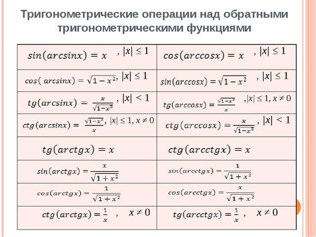 Тригонометрические операции над обратными тригонометрическими функциями , |x|...