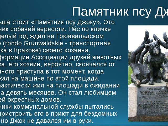 Памятник псу Джоку В Польше стоит «Памятник псу Джоку». Это памятник собачей...
