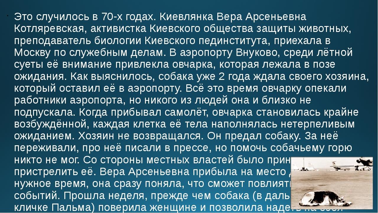 Это случилось в 70-х годах. Киевлянка Вера Арсеньевна Котляревская, активистк...
