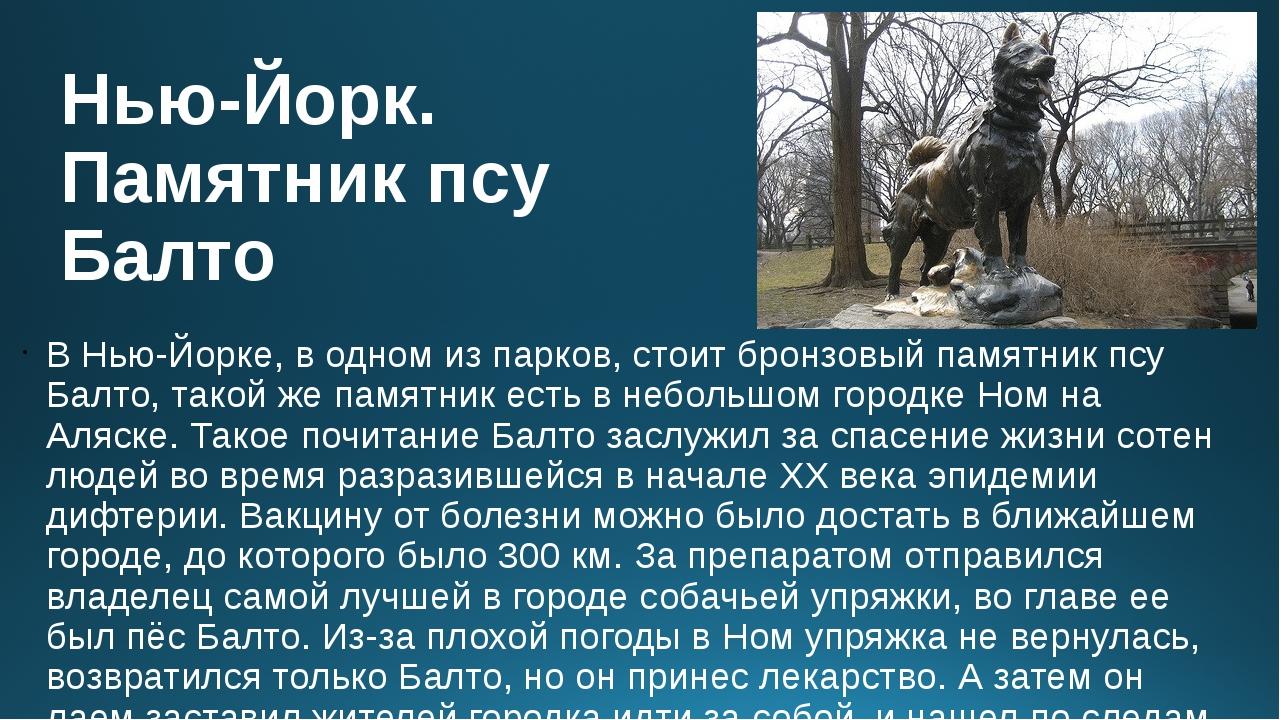 Нью-Йорк. Памятник псу Балто В Нью-Йорке, в одном из парков, стоит бронзовый...