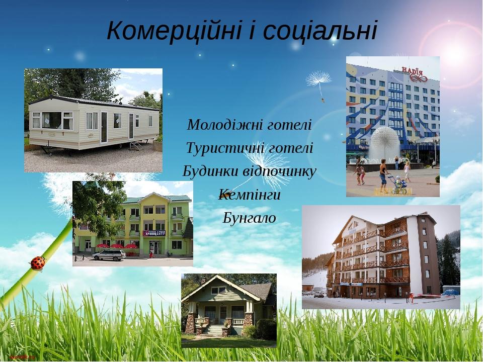 Комерційні і соціальні Молодіжні готелі Туристичні готелі Будинки відпочинку...