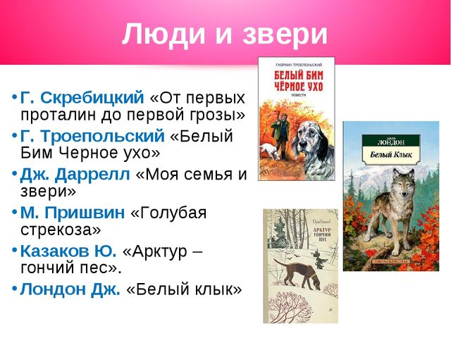 Люди и звери Г. Скребицкий «От первых проталин до первой грозы» Г. Троепольск...