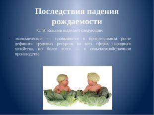 Последствия падения рождаемости С. В. Ковалев выделяет следующие: экономическ