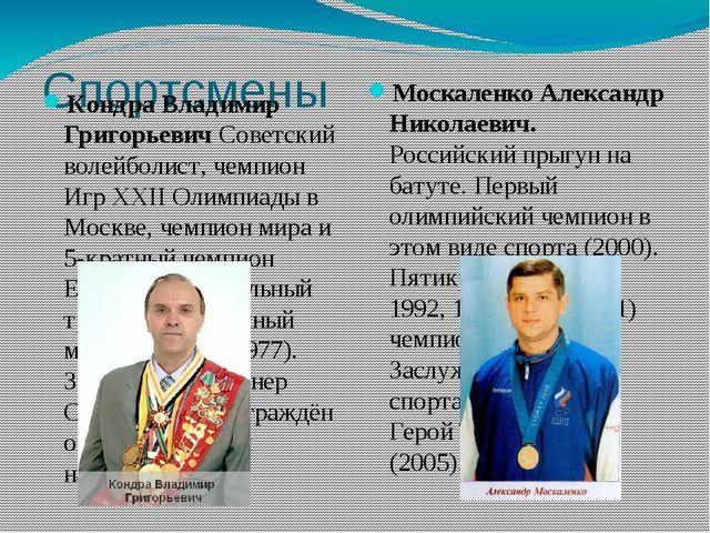 Спортсмены Кондра Владимир Григорьевич Советский волейболист, чемпион Игр XXI...