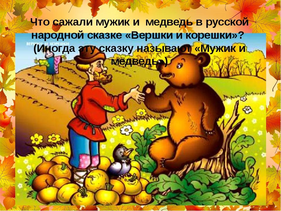Что сажали мужик и медведь в русской народной сказке «Вершки и корешки»? (Ин...