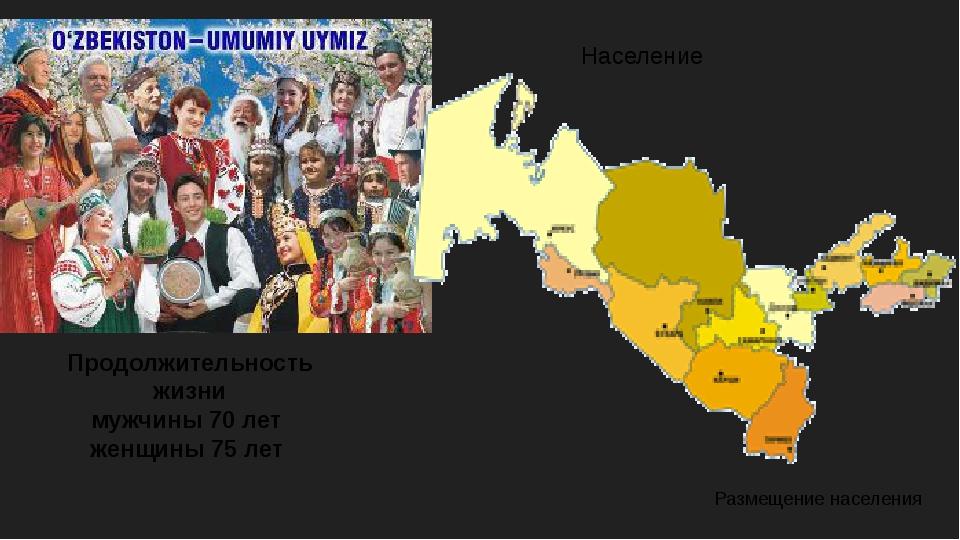 Население Продолжительность жизни мужчины 70 лет женщины 75 лет Размещение на...