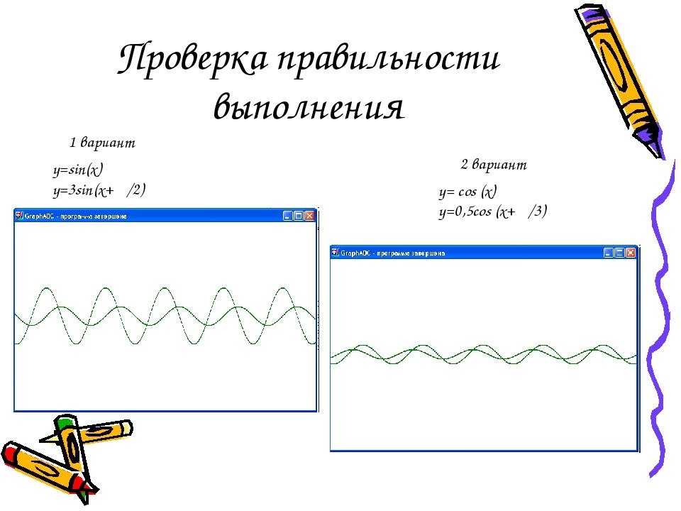 Проверка правильности выполнения 1 вариант 2 вариант y=sin(x) y=3sin(x+ π/2)...
