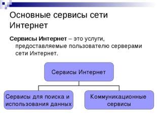 Основные сервисы сети Интернет Сервисы Интернет – это услуги, предоставляемые