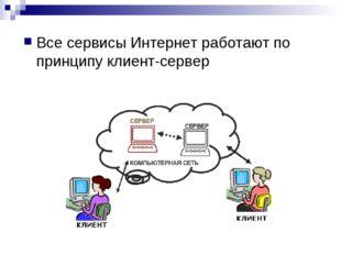 Все сервисы Интернет работают по принципу клиент-сервер