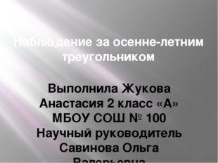 Наблюдение за осенне-летним треугольником Выполнила Жукова Анастасия 2 класс