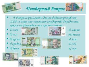 Четвертый вопрос . В витрине размещены деньги бывших республик СССР, а ныне и