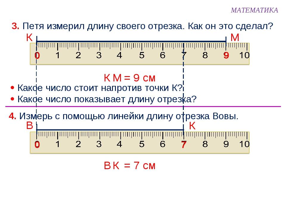 3. Петя измерил длину своего отрезка. Как он это сделал?  Какое число стоит...