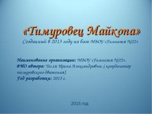 «Тимуровец Майкопа» Созданный в 2013 году на базе МБОУ «Гимназия № 22» Наимен
