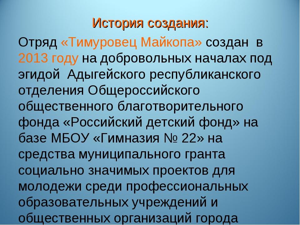 История создания: Отряд «Тимуровец Майкопа» создан в 2013 году на добровольны...