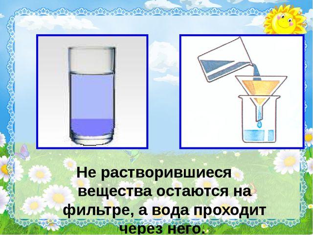 Не растворившиеся вещества остаются на фильтре, а вода проходит через него.