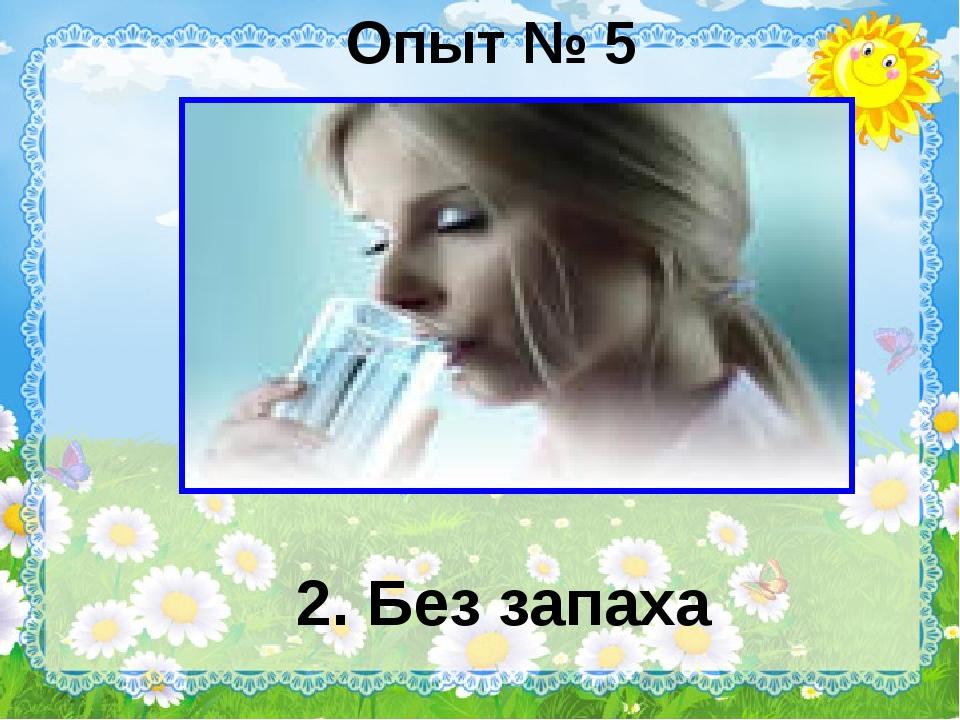 Опыт № 5 2. Без запаха