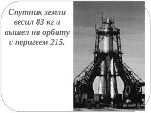 Спутник земли весил 83 кг и вышел на орбиту с перигеем 215.