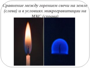Сравнение между горением свечи на земле (слева) и в условиях микрогравитации