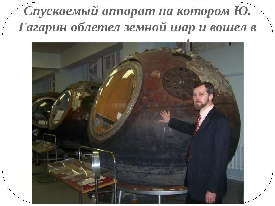 Спускаемый аппарат на котором Ю. Гагарин облетел земной шар и вошел в плотные...