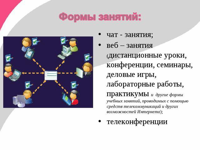 чат - занятия; веб – занятия (дистанционные уроки, конференции, семинары, дел...