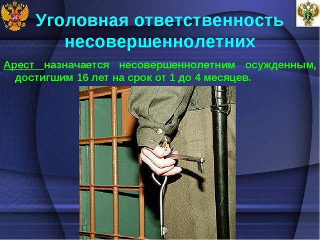 Уголовная ответственность несовершеннолетних Арест назначается несовершенноле...