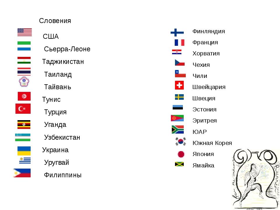 Финляндия Франция Хорватия Чехия Чили Швейцария Швеция Эстония Эрит...