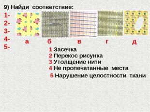 3 Утолщение нити 5 Нарушение целостности ткани 4 Не пропечатанные места 1 Зас