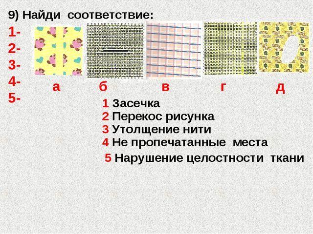 3 Утолщение нити 5 Нарушение целостности ткани 4 Не пропечатанные места 1 Зас...