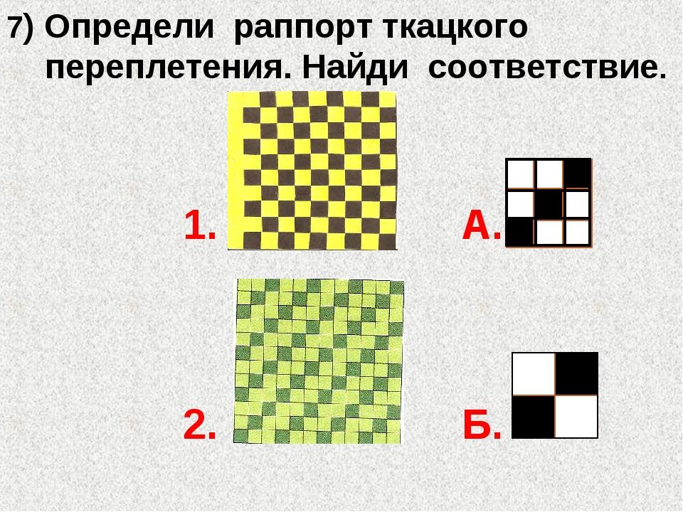 7) Определи раппорт ткацкого переплетения. Найди соответствие. 1. А. 2. Б.