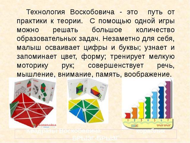 Технология Воскобовича - это путь от практики к теории. С помощью одной игры...