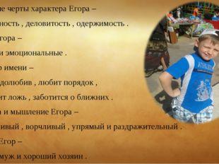 Основные черты характера Егора – Практичность , деловитость , одержимость . Т