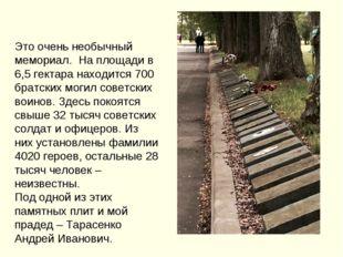 Это очень необычный мемориал. На площади в 6,5 гектара находится 700 братских