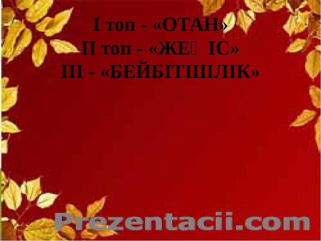 I топ - «ОТАН» II топ - «ЖЕҢІС» III - «БЕЙБІТШІЛІК»