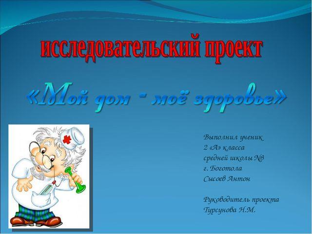 Выполнил ученик 2 «А» класса средней школы №3 г. Боготола Сысоев Антон Руково...
