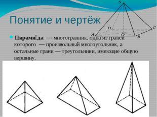 Понятие и чертёж Пирами́да—многогранник, одна из граней которого — произв