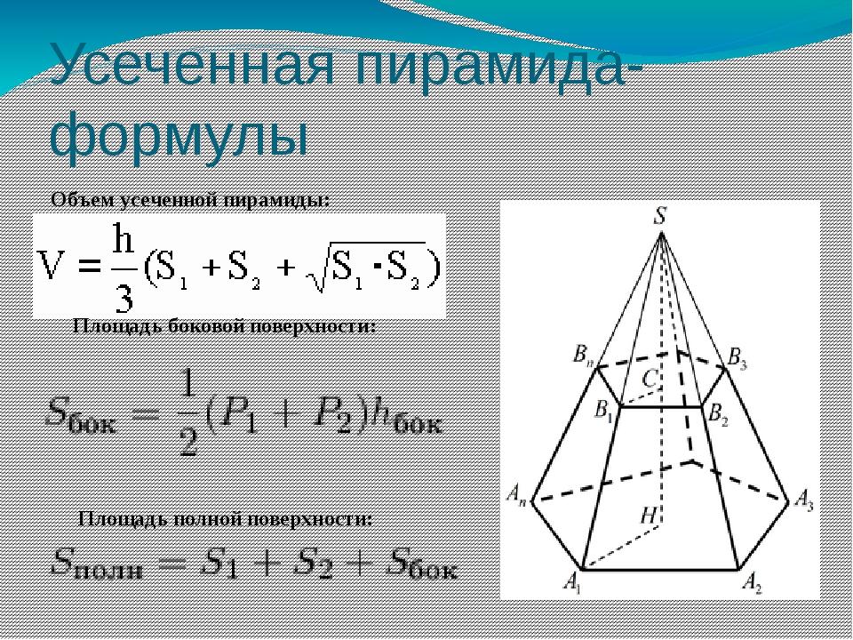Усеченная пирамида- формулы Объем усеченной пирамиды: Площадь боковой поверх...