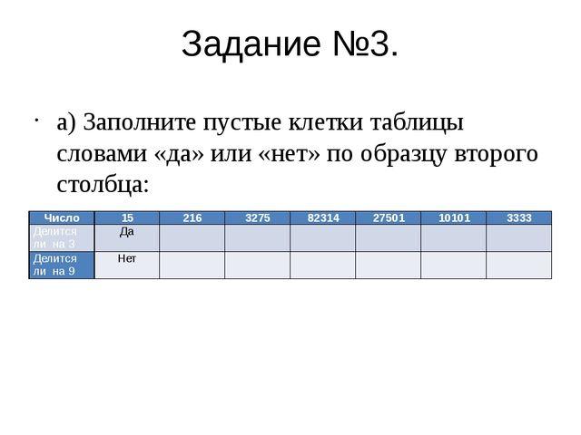 Задание №3. а) Заполните пустые клетки таблицы словами «да» или «нет» по обра...