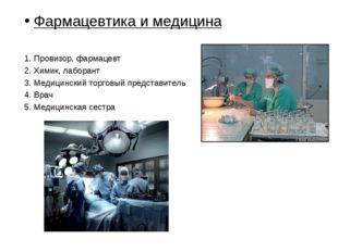 Фармацевтика и медицина Провизор, фармацевт Химик, лаборант Медицинский торго